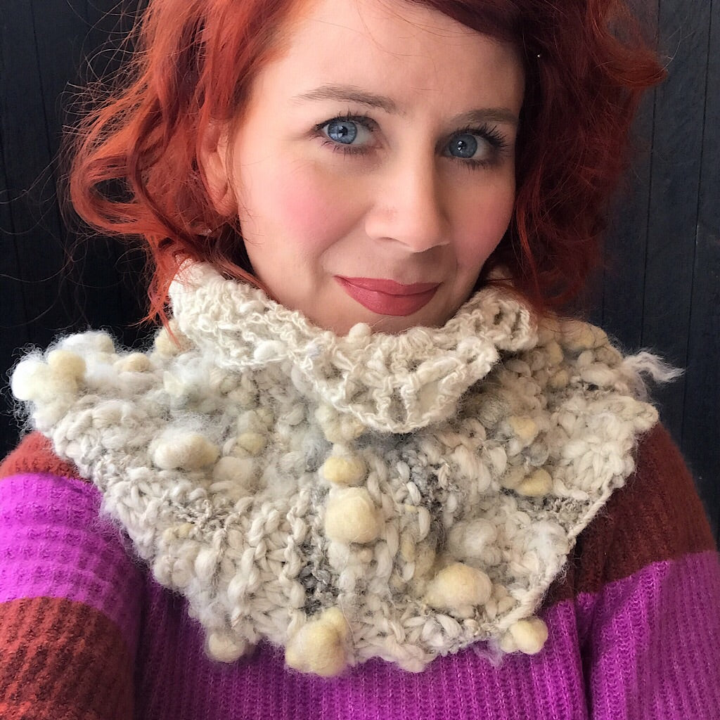 Alpaca knitted cowl