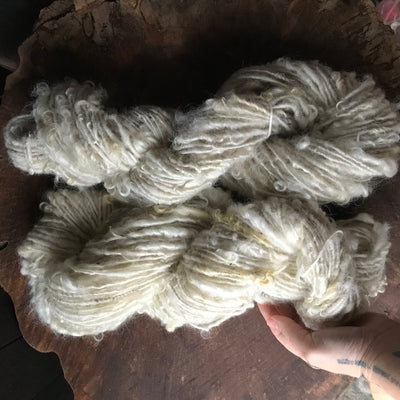 Natural white textured wool yarn 100 grams 46 yards skein - Mynoush