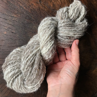 Natural hand spun yarn made on a vintage spinning wheel 60 grams 64 yards - Mynoush
