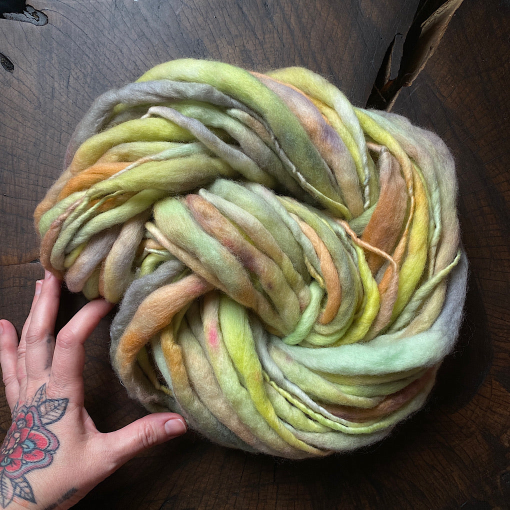Earthy green Thick and thin hand spun yarn