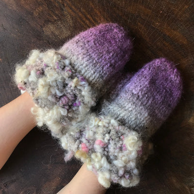 Purple and grey knitted and felted mittens - Medium size - Mynoush