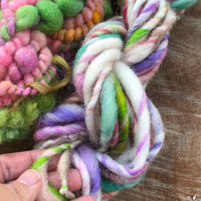 Pastel hand spun yarn trio - scarf knitting kit 150 grams - Mynoush