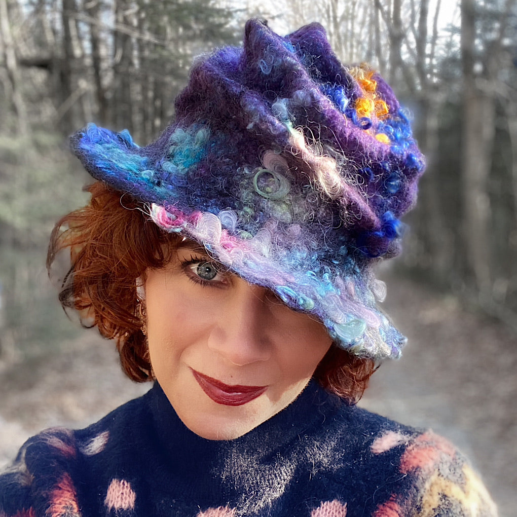 Felted cloche hat Nebula