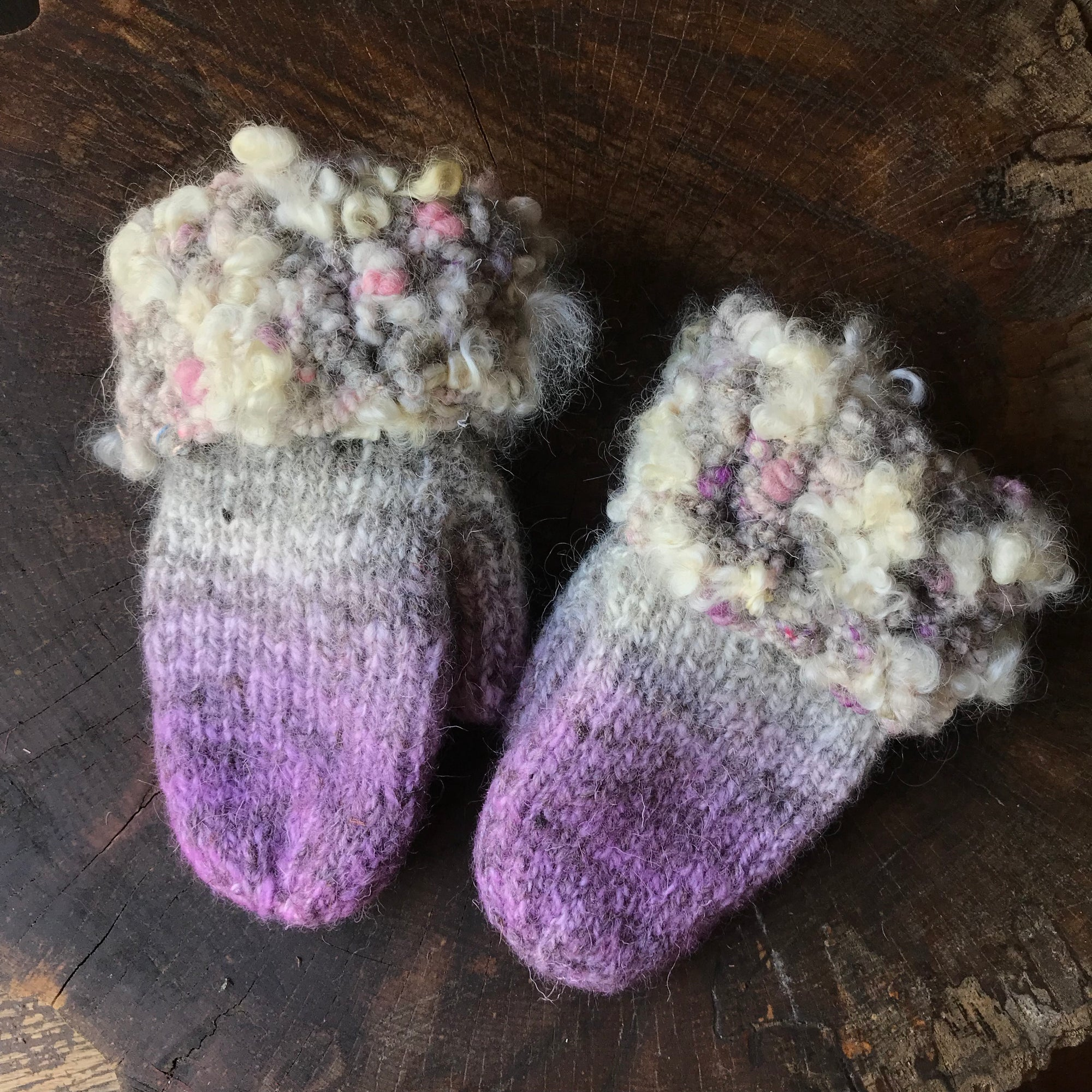Purple and grey knitted and felted mittens - Medium size