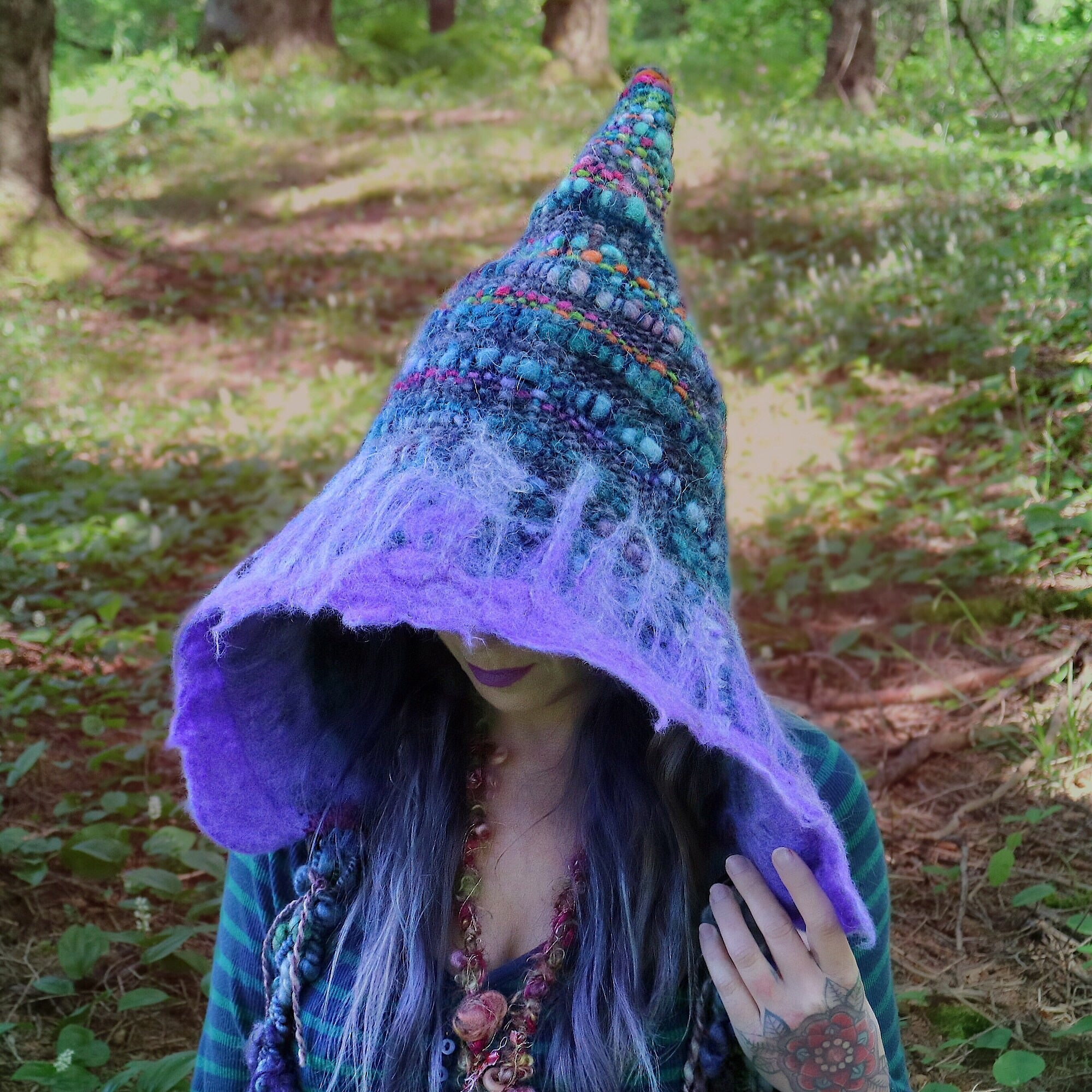 Blue hood hat with felt, fairy hat, hand woven - One size - Mynoush