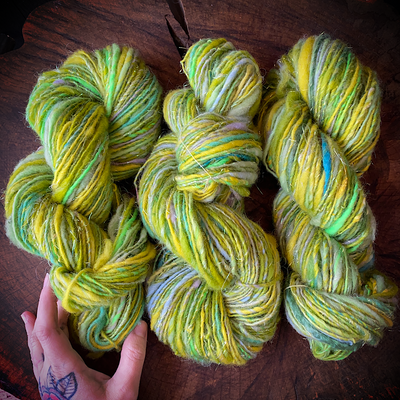 Clearance Green lace hand spun