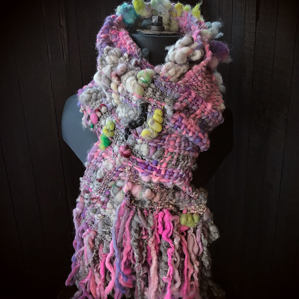Pink woven Scarf