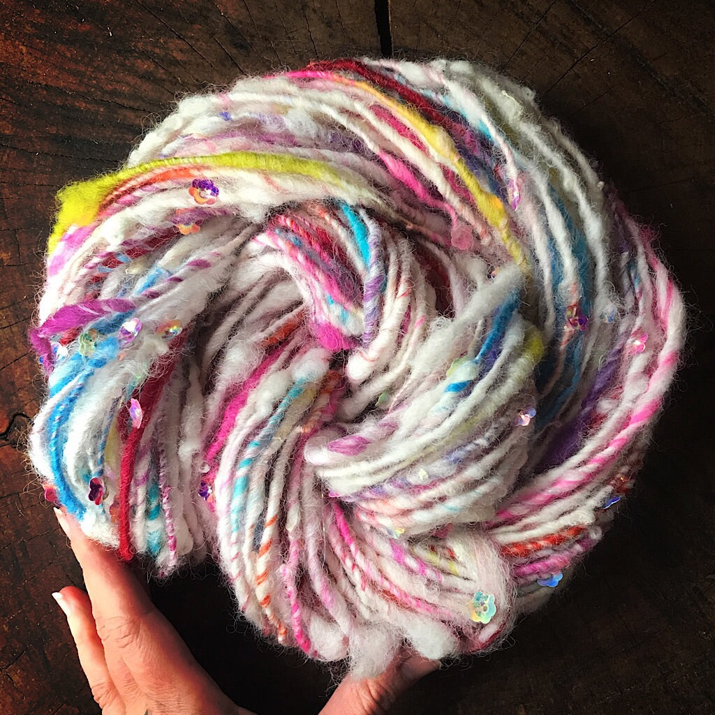 Beaded hand spun yarn