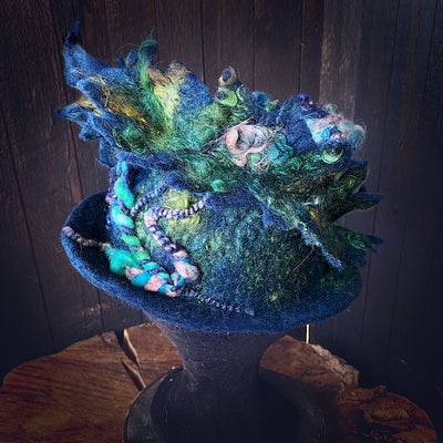 Blue Felted top hat