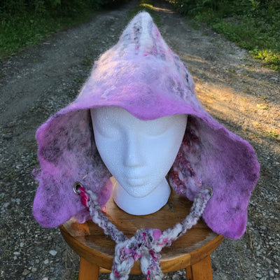 Pink fairy hat | Hooded hat with felted flowers - Mynoush