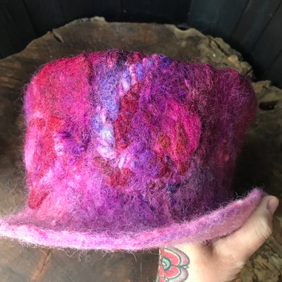 "Pink felted hat 100% a Wool size 23"" - Mynoush"