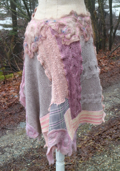 Recycled sweaters patchwork skirt purple and pink Size medium large - Mynoush