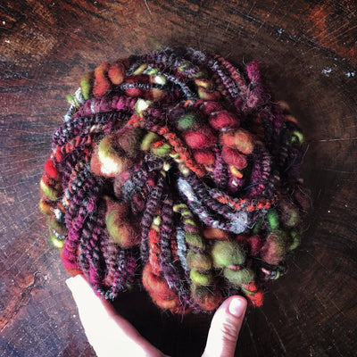 Burgundy hand spun yarn 100g 19y - Mynoush