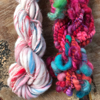 Pink hand spun yarn duo 115 grams - Mynoush