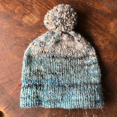 Blue and grey unisex beanie 100% wool One size - Mynoush