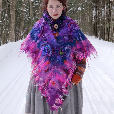 Giant felted shawl