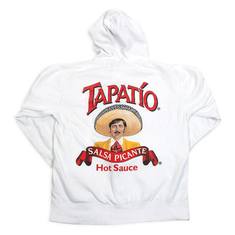 Tapatio Logo Zippered Hoodie in White