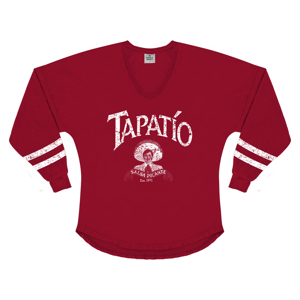 *Women's Long Sleeve V-Neck Spirit Jersey in Red*