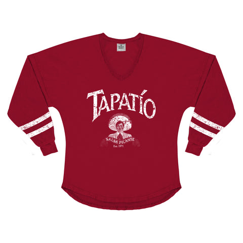 Women's Long Sleeve V-Neck Spirit Jersey in Red