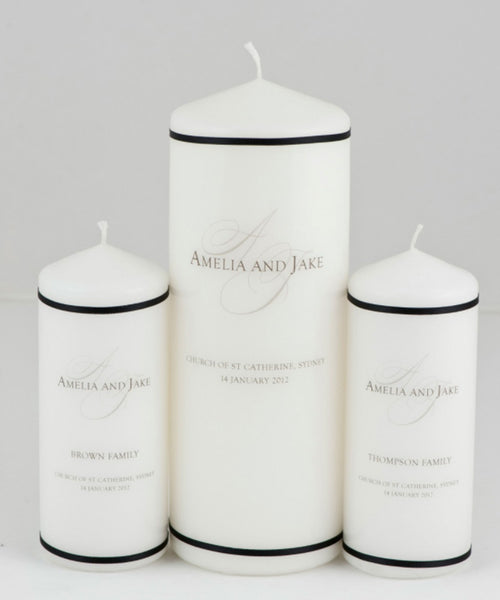 Narrow Satin Ribbon Trim Unity Wedding Candle Set