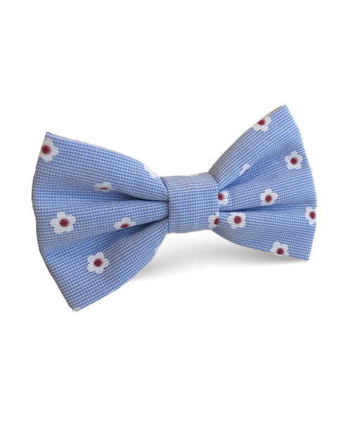Blue Floral Cotton Bow Tie