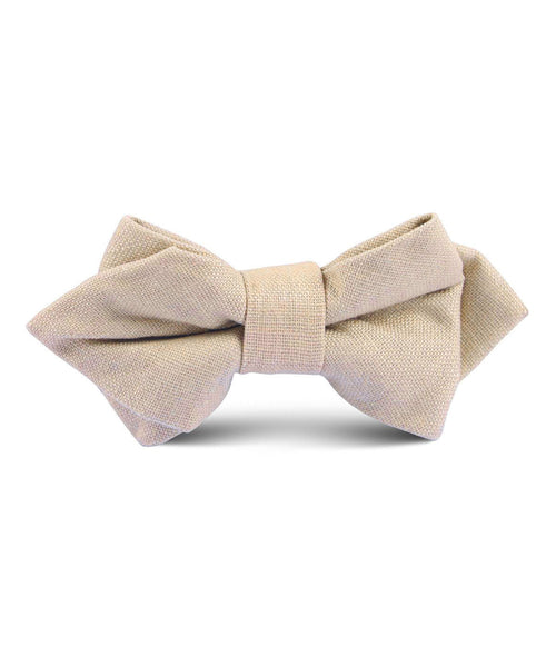 Beige Linen Diamond Bow Tie