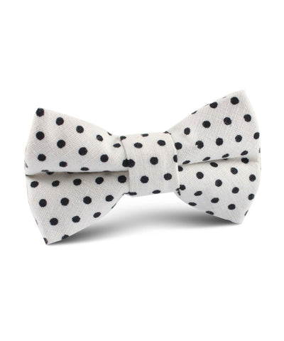 White & Black Polka Dot Cotton Bow Tie