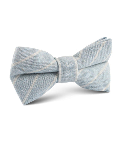 Blue Stripe Linen Bow Tie