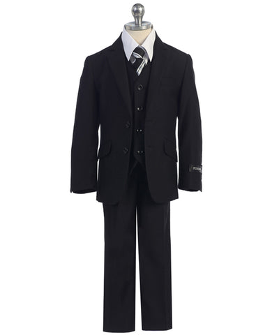 Slim Fit Classic Black 5pc Suit Set