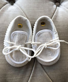Ciccino Beige Striped Baby Moccasins