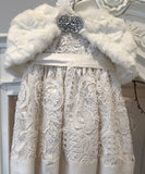 Luxe Smooth Faux Fur Diamante Clasp Capelet