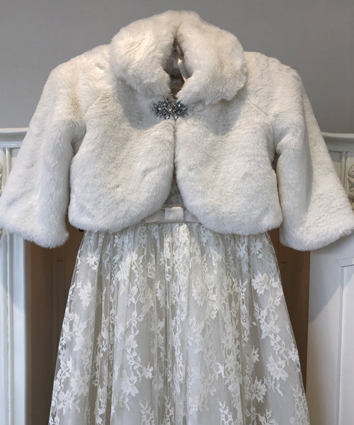 Crystal Detail Smooth Faux Fur Jacket
