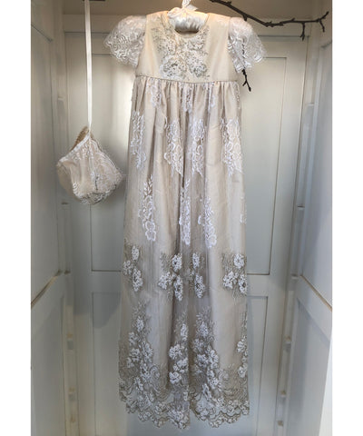 Italian Beaded Lace Gown Set