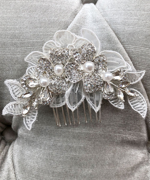 Lace Crystal & Pearl Petal Flower Comb