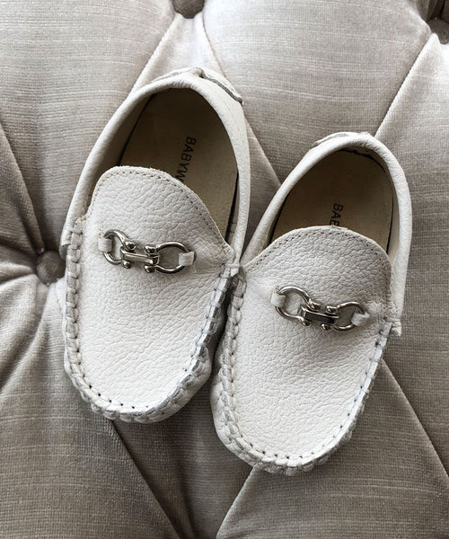 Luxury European Leather Moccasins - Ivory or White