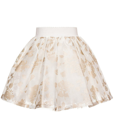 Monnalisa Floral Gold Occasion Skirt