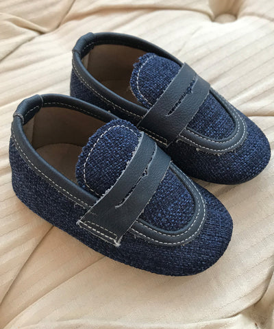 Navy Textured Luxury European Leather Moccasins