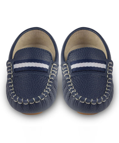 Oscar's For Kids Navy Leather Loafers