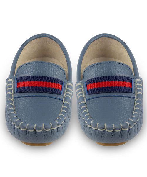 Oscar's For Kids Mid Blue Leather Loafers