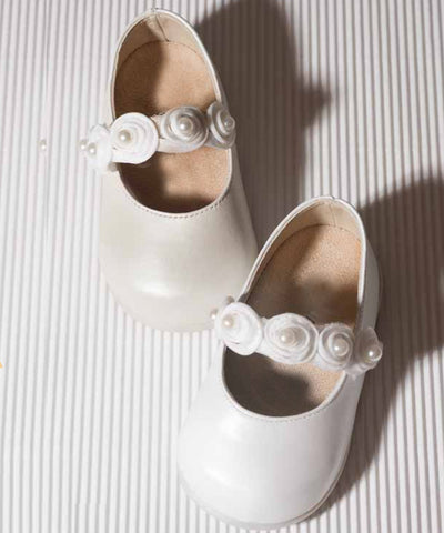 Leather Rosette First Walker Baby Shoes- LAST PAIR SALE!