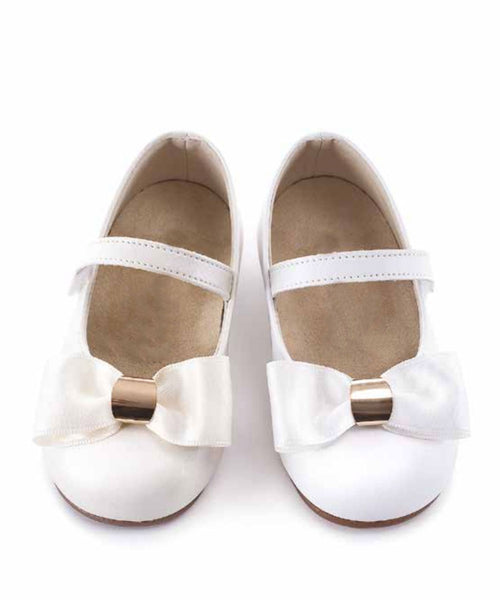 Gold Detail Satin Bow Toddler Shoes