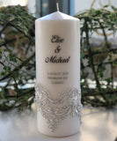 Silver Lace Wedding Candle