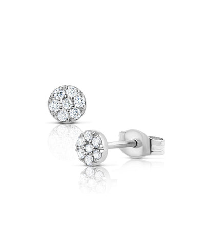 White Gold Daisy Dot Earrings