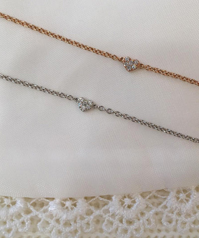 Diamond Heart White, Yellow or Rose Gold Bracelet