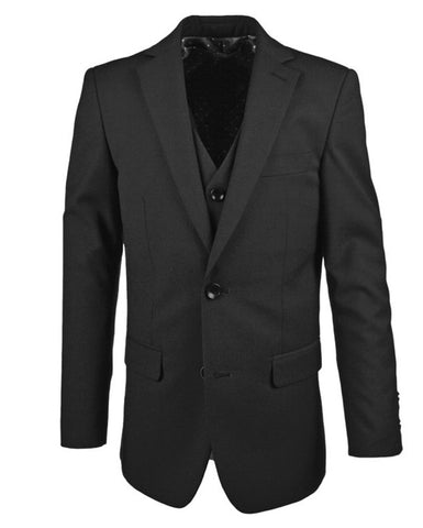 Boys 2-14 Years Luxe Three Piece Slim Fit Suit - Black