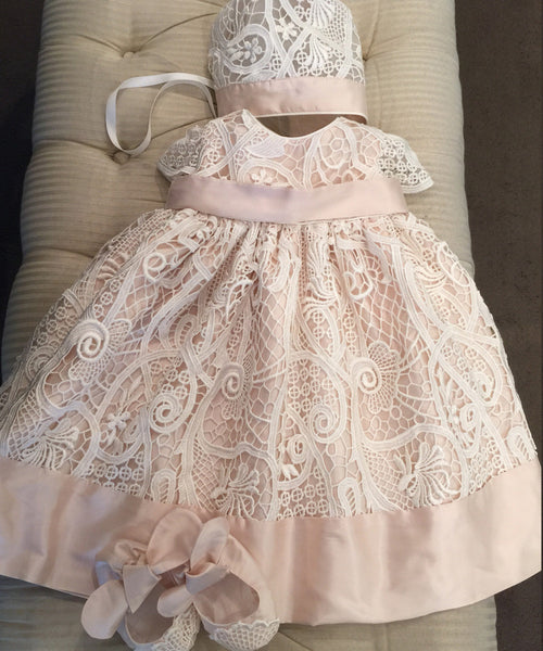 Guipure Lace Baby Dress- 3 Piece Set