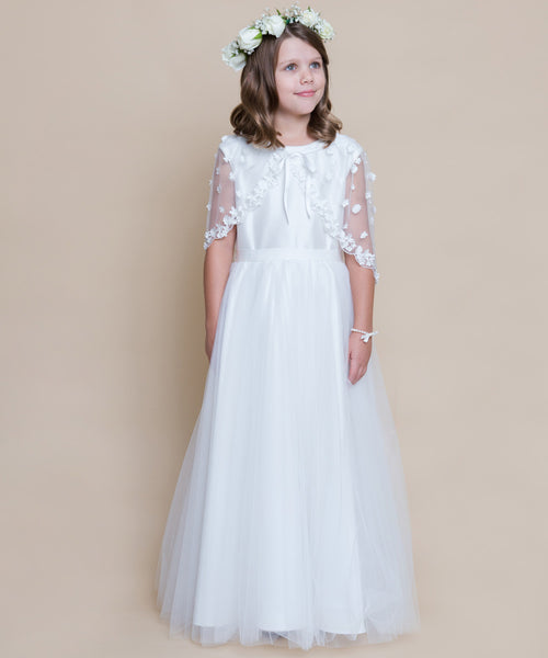 Silk Tulle Gown & Floral Applique Caplet