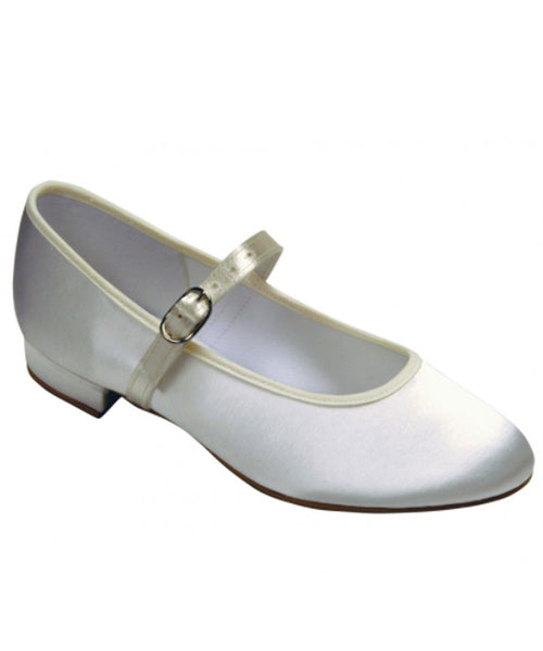 Satin Covered Shoes With Block Heel