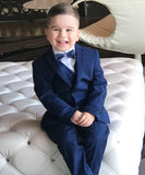 Isaac Mizrahi- Boys 2-7 Years Luxe Three Piece Slim Fit Suit - Navy