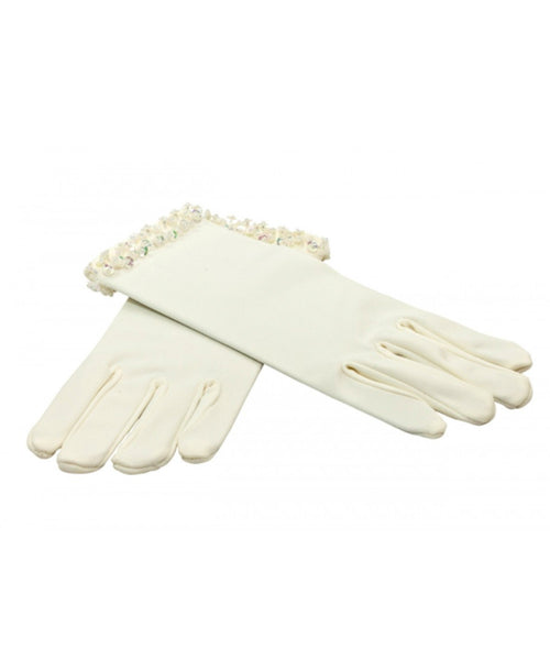 Beaded Matte Satin Gloves